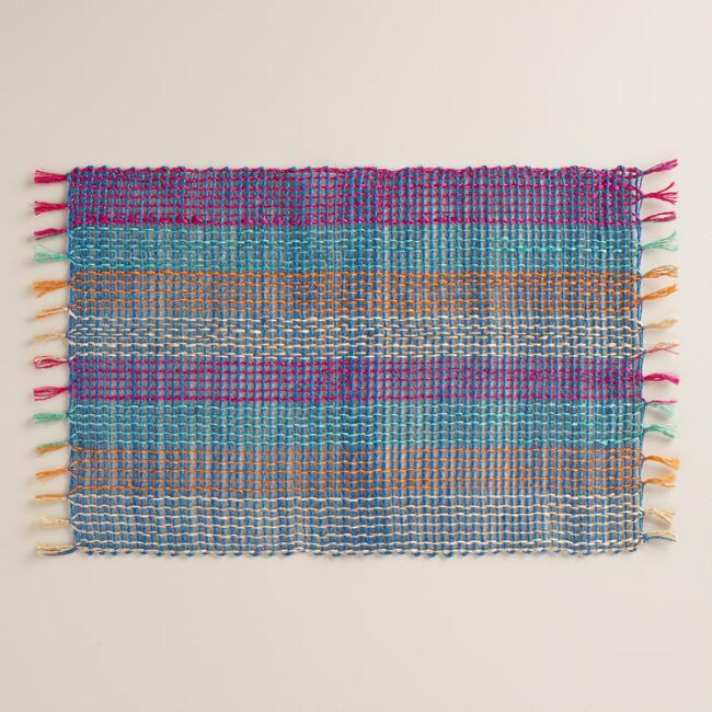 Blue and Fuchsia Abaca Placemats Set of 4