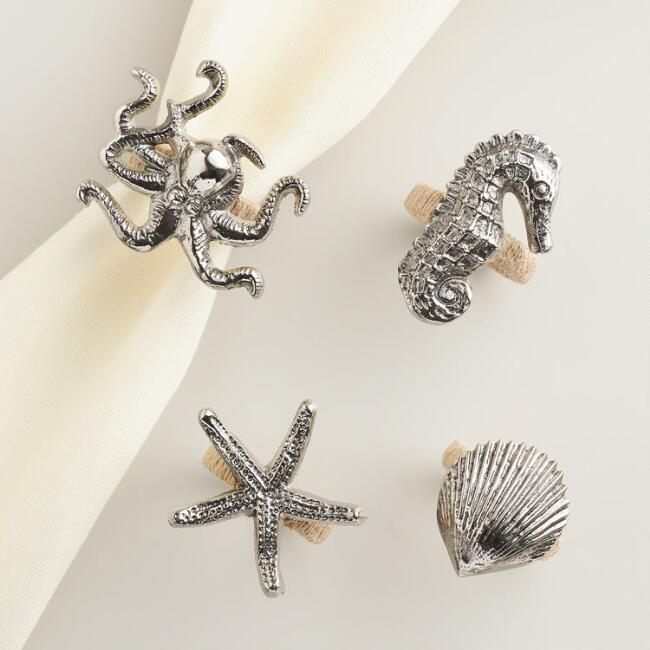 Sea Creatures Napkin Rings Set of 4