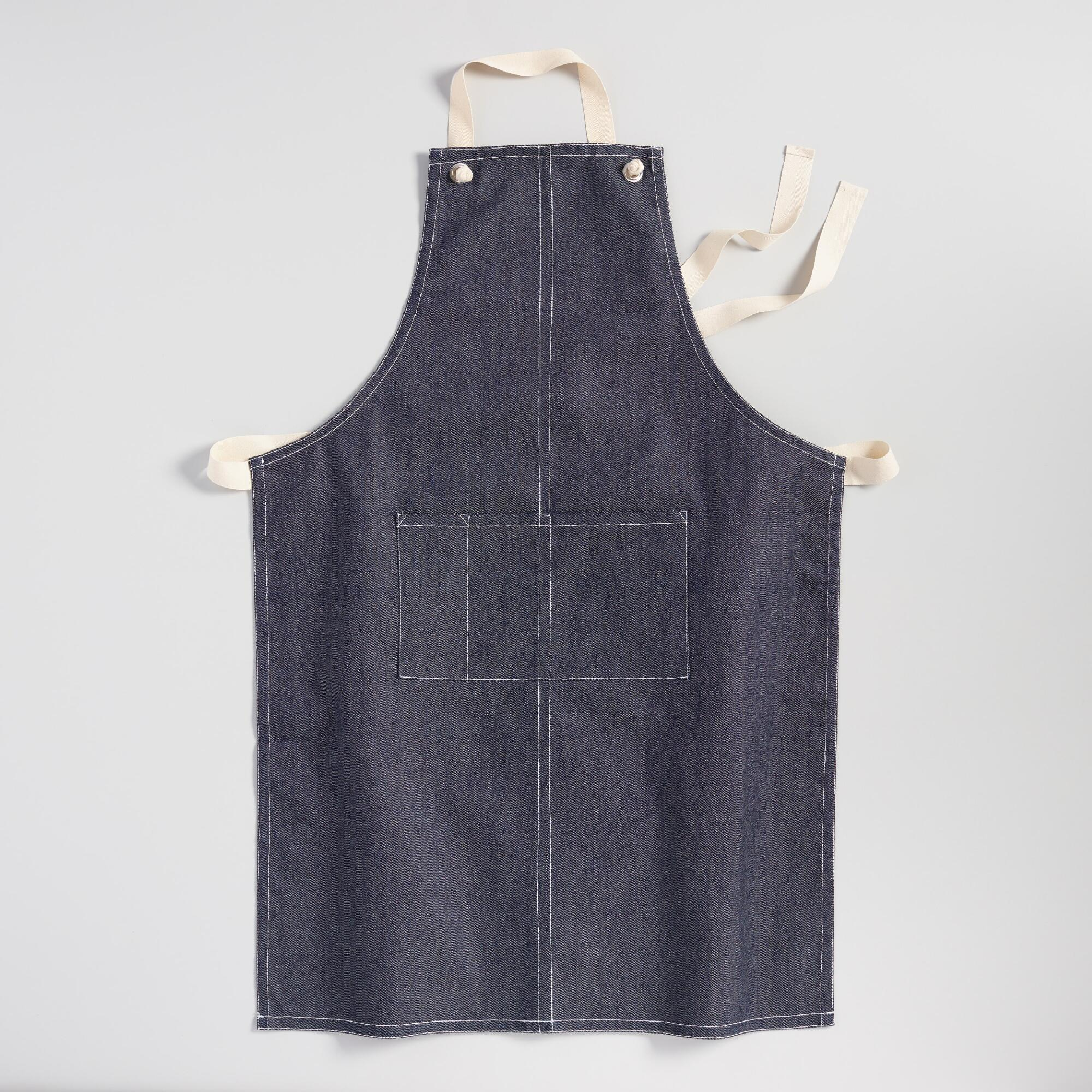Vintage Aprons, Retro Aprons, Old Fashioned Aprons & Patterns Denim Chef Style Apron Blue - Cotton by World Market $19.99 AT vintagedancer.com