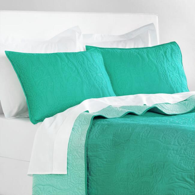 Teal and Ocean Wave Simone Reversible Quilt