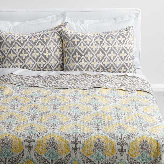 Yellow and Gray Allison Bedding Collection
