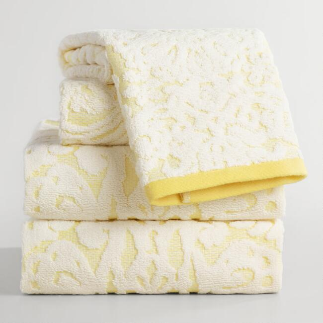 Lemon Fraiche Damask Caterina Sculpted Towel Collection