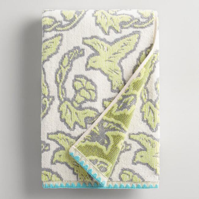 Brigitte Ivory and Green Bird Jacquard Bath Towel