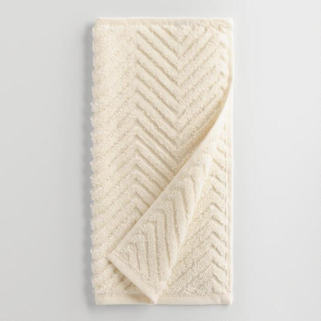 Ivory Chevron Spa Washcloth Set of 2