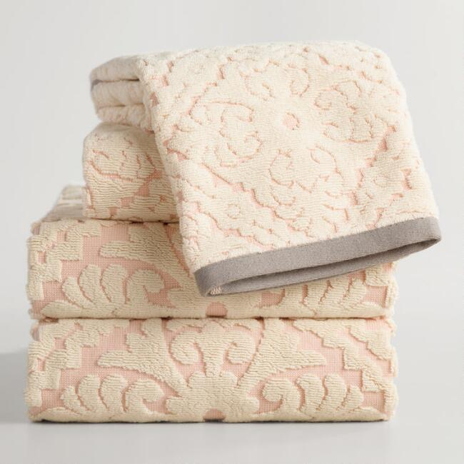 Blush Barcelona Tile Sculpted Towel Collection
