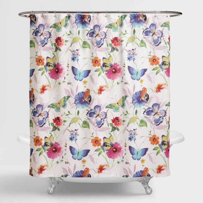 Butterfly Watercolor Floral Shower Curtain | World Market