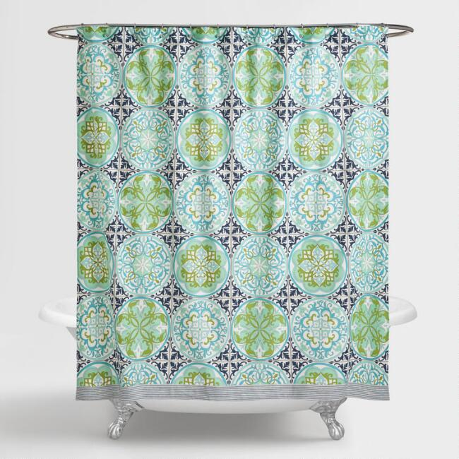 Blue And Green Gabriella Shower Curtain