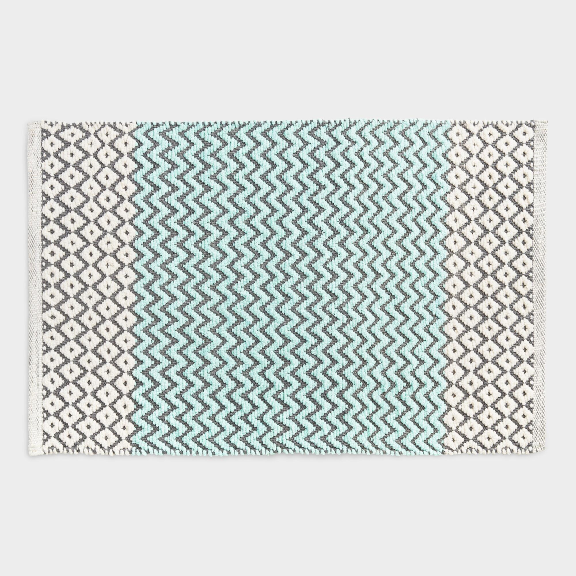 Very large bath rugs search - Aqua Chenille Chevron And Diamond Bath Mat