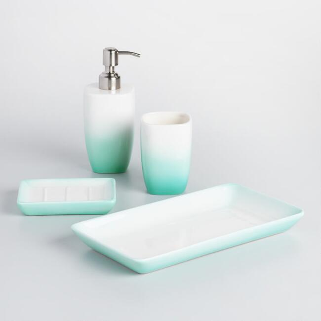 Aqua Ombre Ceramic Bath Accessories Collection. Aqua Ombre Ceramic Bath Accessories Collection   World Market