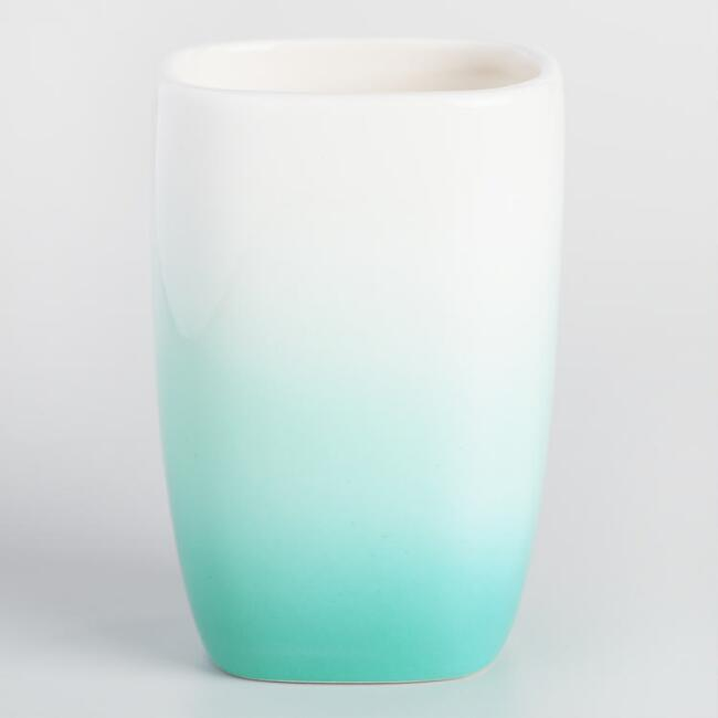 Aqua Ombre Ceramic Toothbrush Holder