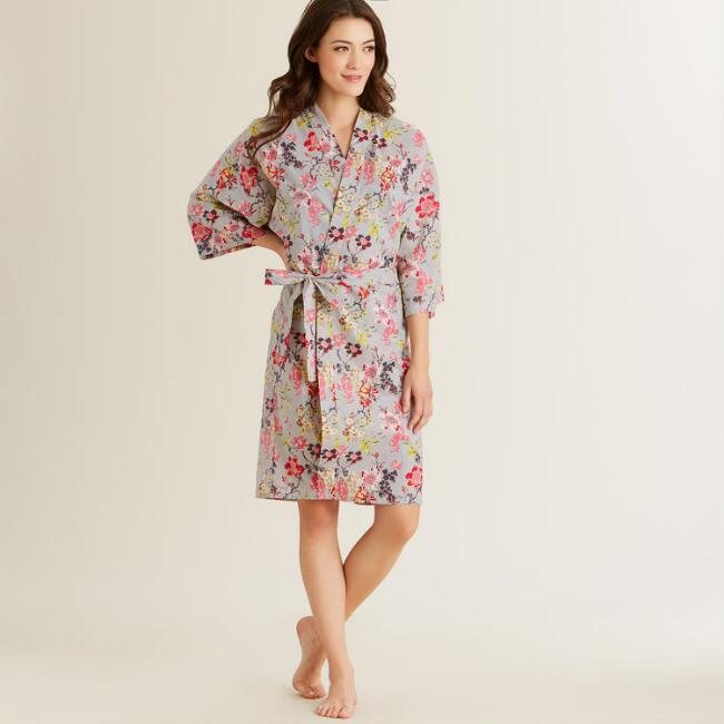 Gray Grace Floral Robe