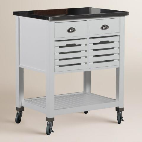 White Wood and Stainless Steel Top Vitale Kitchen Cart