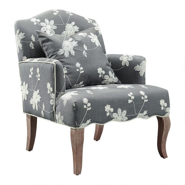 Gray Floral Embroidered Armchair with Pillow