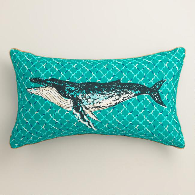 Humpback Whale Outdoor Lumbar Pillow