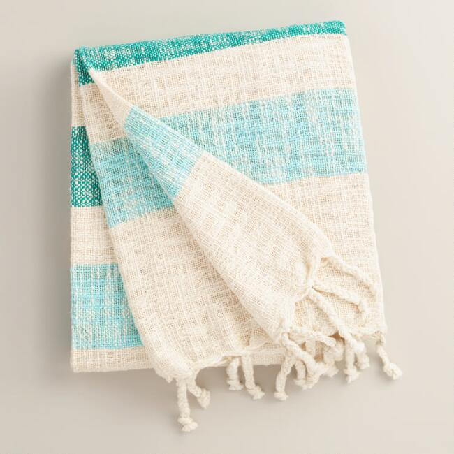 Blue Stripe Cotton Outdoor Throw