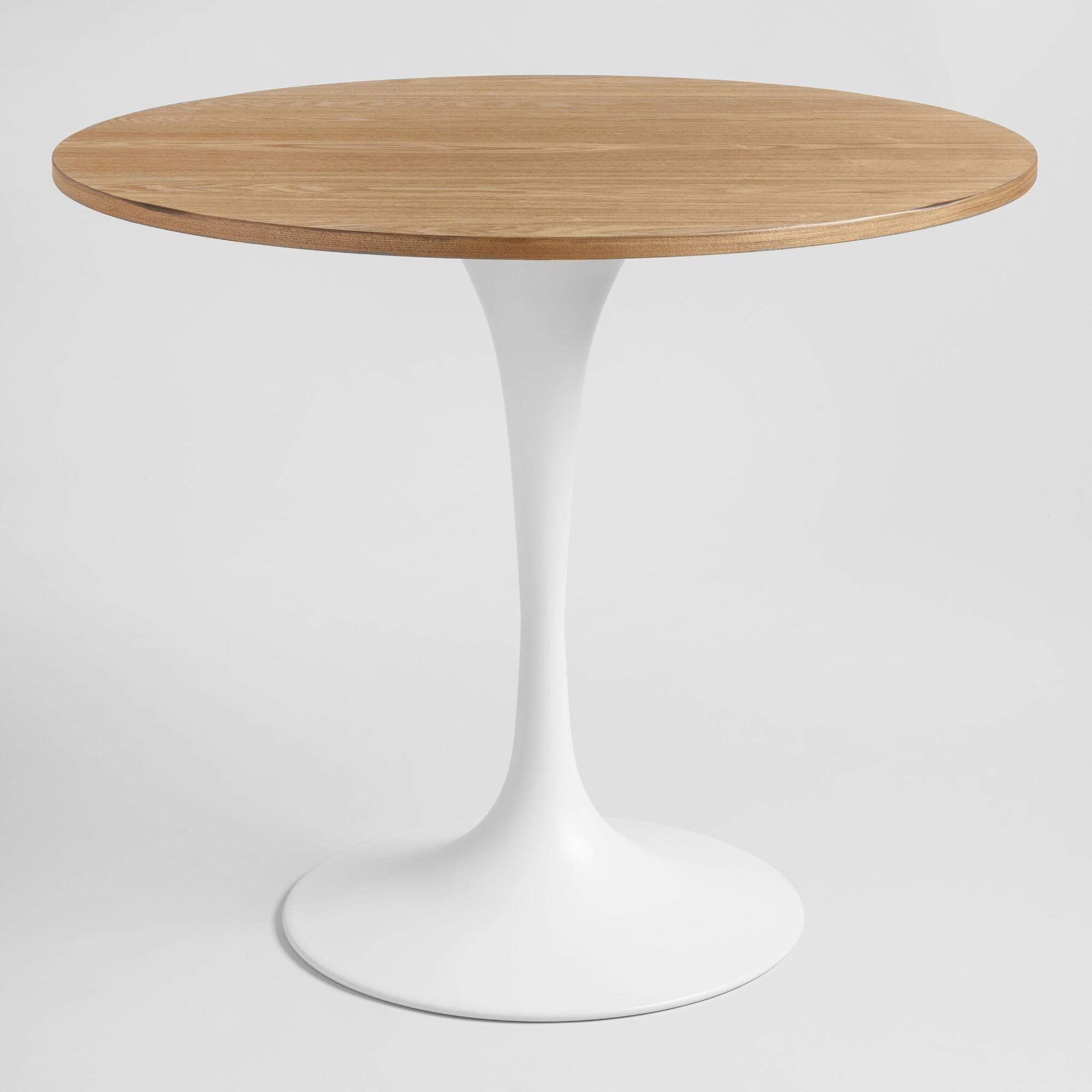 Wood and White Metal Leilani Tulip Dining Table - Small by World Market