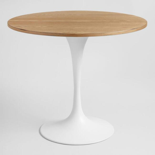 Wood And White Metal Leilani Tulip Dining Table World Market - White pedestal table with leaf