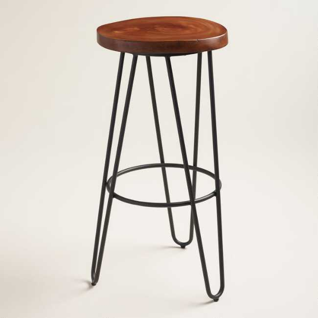Admirable Wood And Black Metal Malvan Hairpin Barstool Gmtry Best Dining Table And Chair Ideas Images Gmtryco