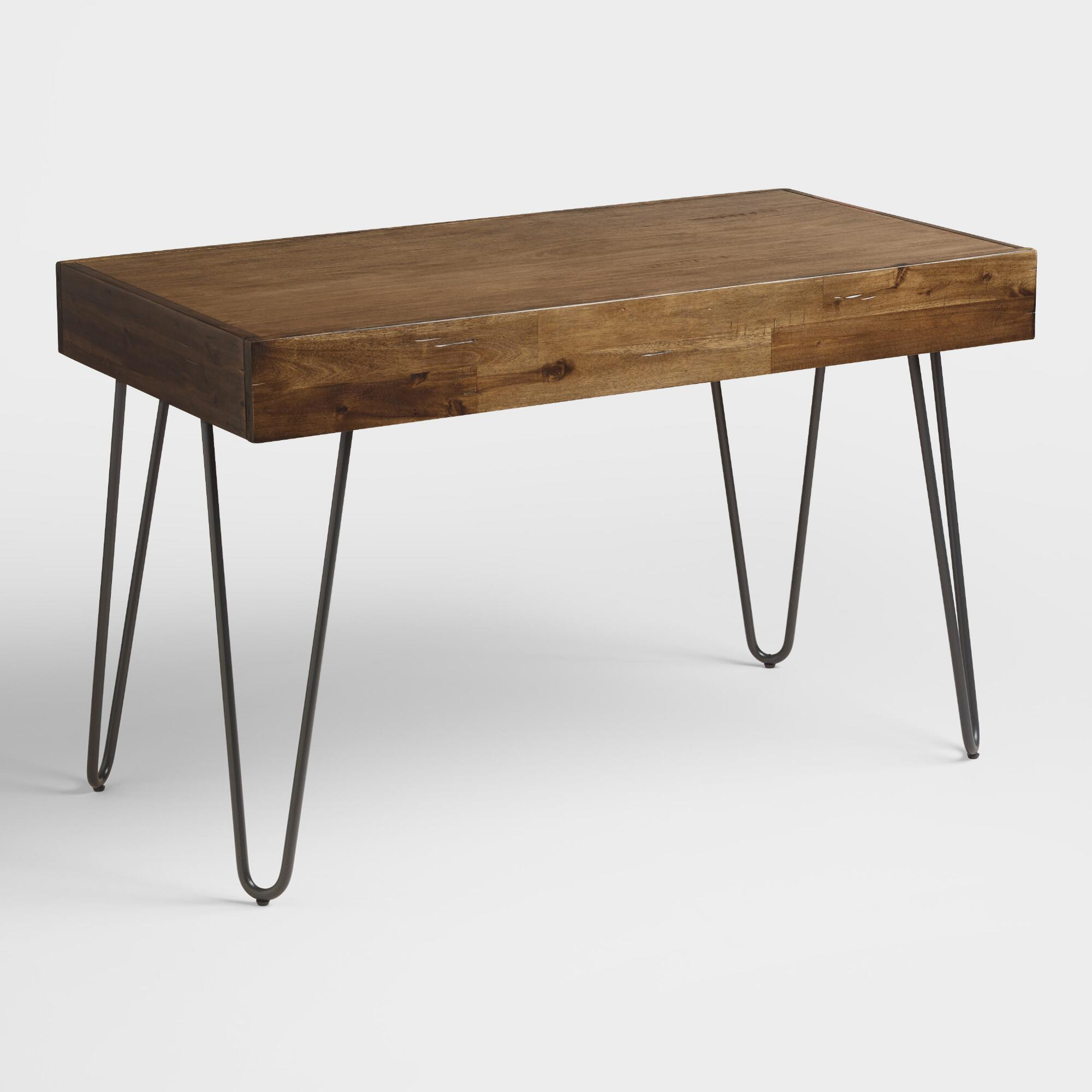 wood and black metal flynn hairpin desk - Black Writing Desk