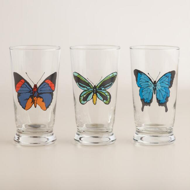 Butterfly Glass Tumblers Set of 3