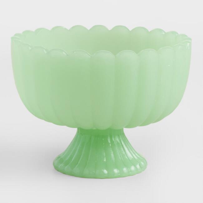 Jade Green Glass Footed Bowls Set of 6