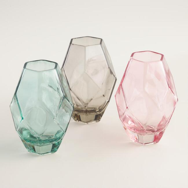 Oval Faceted Vases Set of 3
