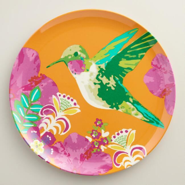 Hummingbird Melamine Dinner Plates Set of 4