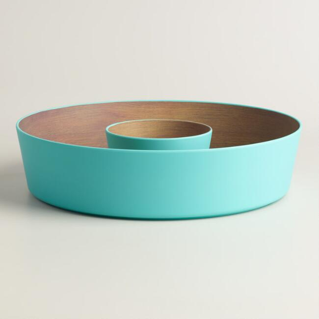 Aqua Wood Grain Melamine Chips and Dip Serving Tray
