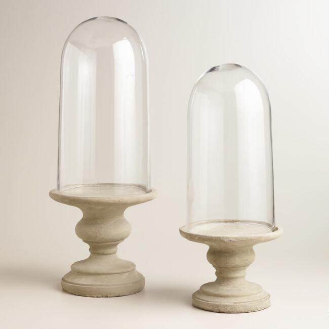 Glass Cloche and Cement Base with Pedestal