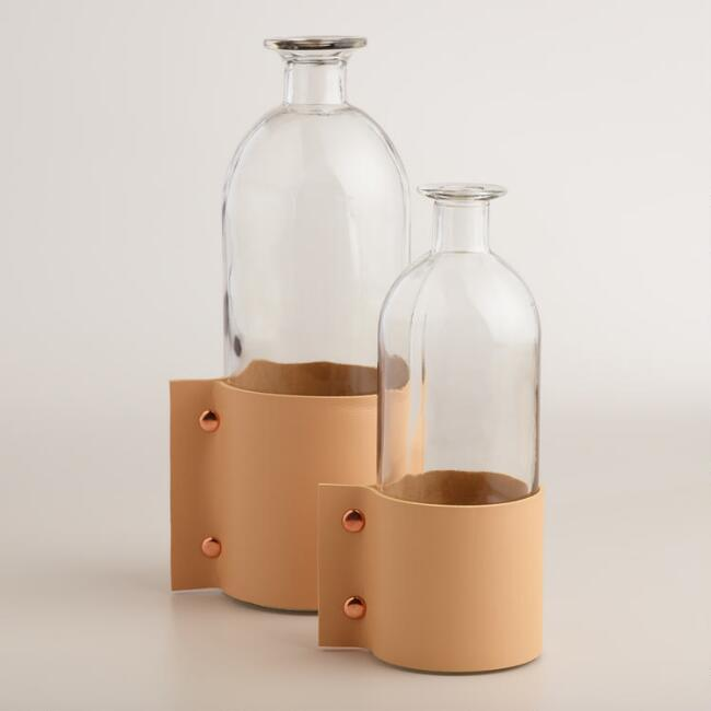 Glass and Faux Leather Vase