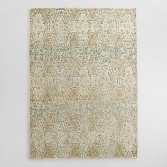 Blue and Gold Tufted Wool Soraya Area Rug