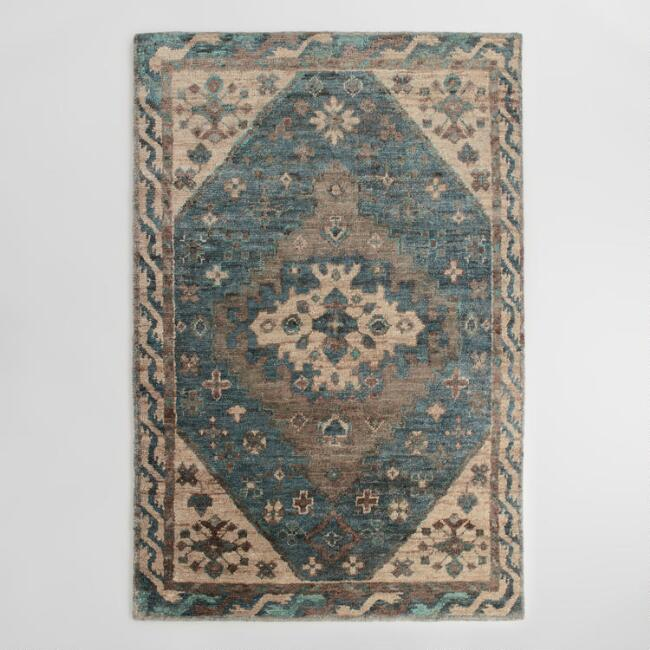 6x9 Teal And Natural Knotted Jute Zola Area Rug