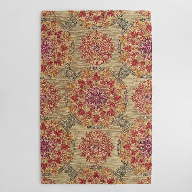 Coral Medallion Tufted Wool Julianna Area Rug