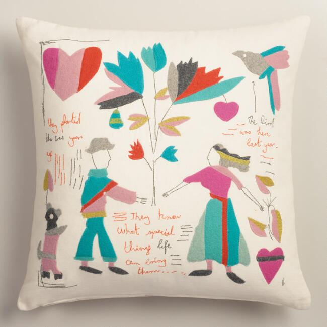 Vintage Style Felt Cutout Love Story Throw Pillow
