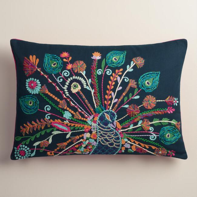 Multicolor Peacock Embroidered Lumbar Pillow