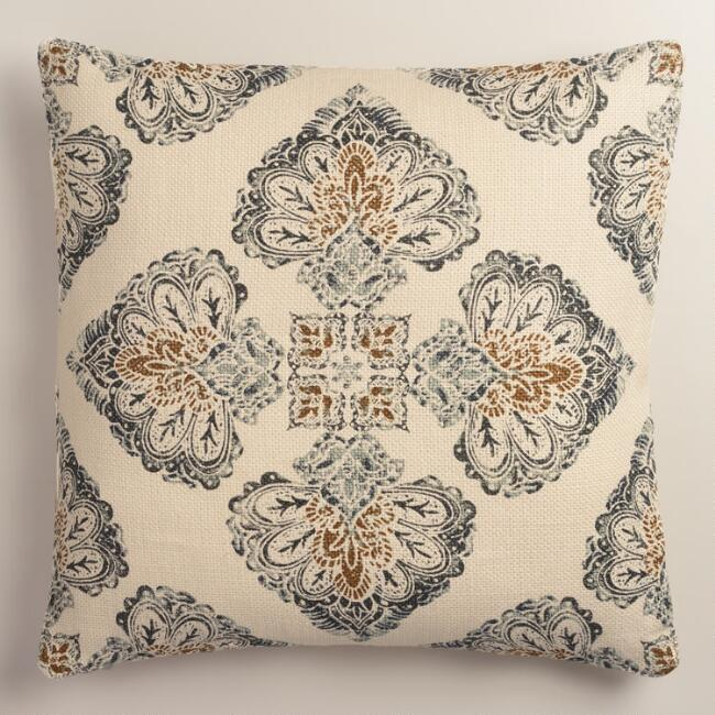 Gray Multicolor Medallion Print Jute Throw Pillow