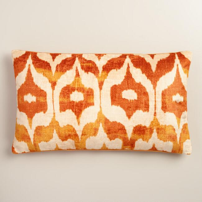 Oversized Orange Ikat Velvet Taza Lumbar Pillow