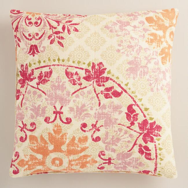 Warm Vintage Style Medallion Print Jute Throw Pillow