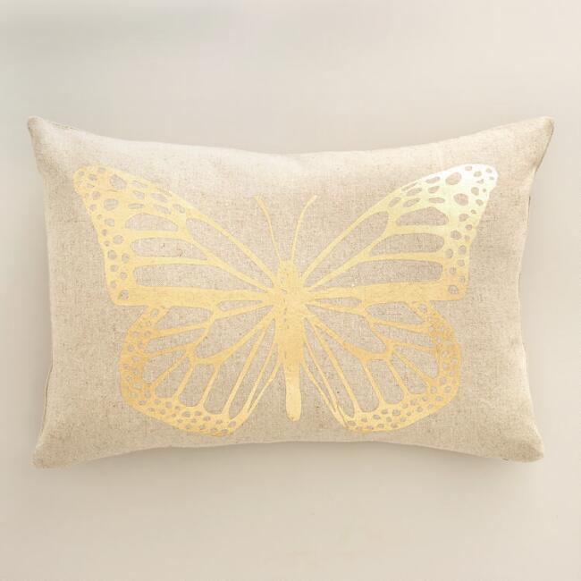 Gold Butterfly Linen Lumbar Pillow