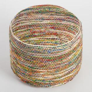 Multicolor Wool and Recycled Silk Pouf