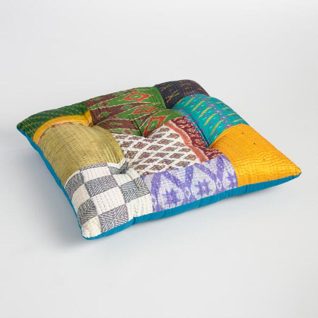 Embroidered Sari Patchwork Floor Cushion