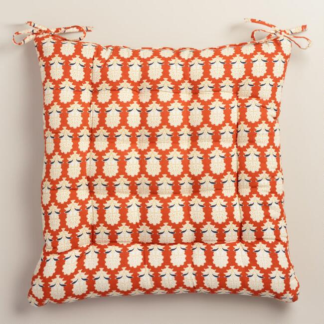 Orange maggie print cotton chair cushion world market - Orange kitchen chair cushions ...