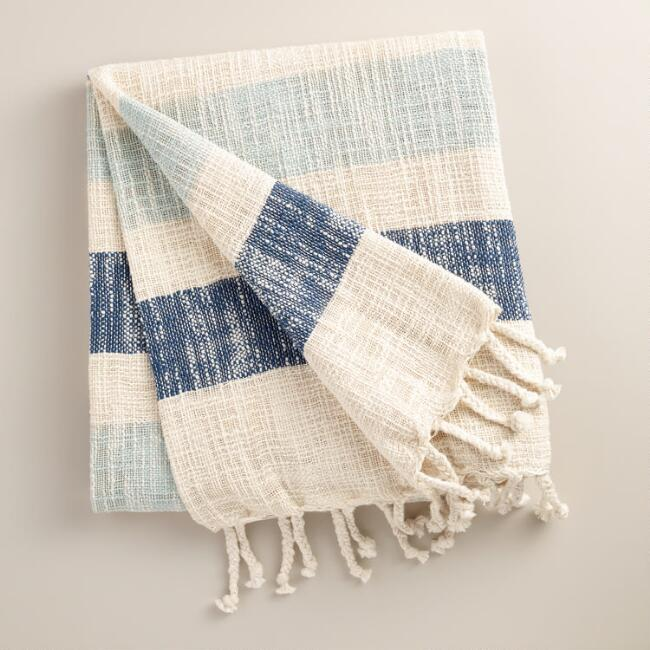 Navy Stripe Cotton Outdoor Throw