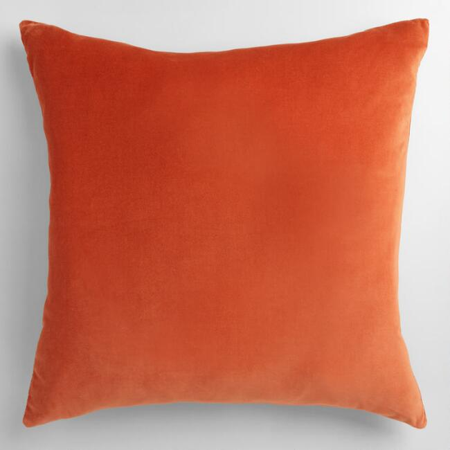Orange Velvet Throw Pillow