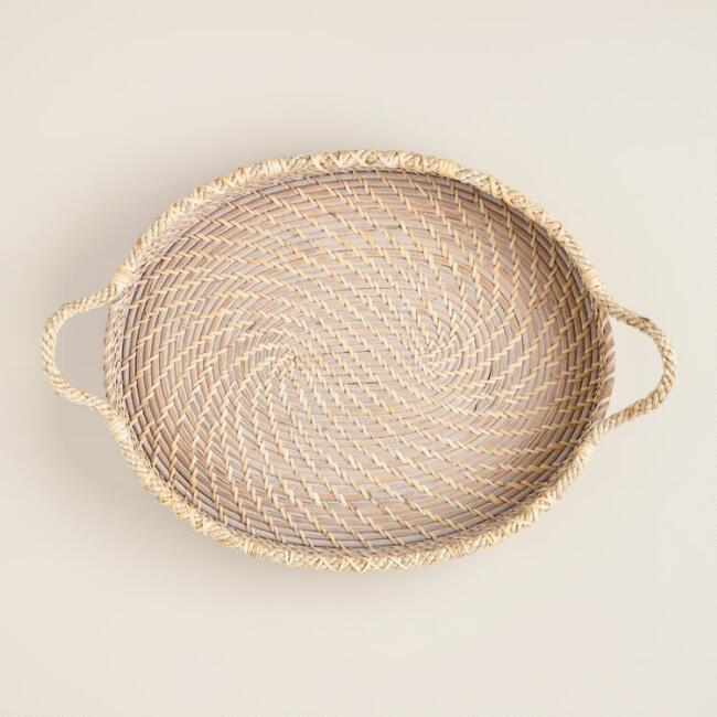 Oval Rattan and Rope Tray