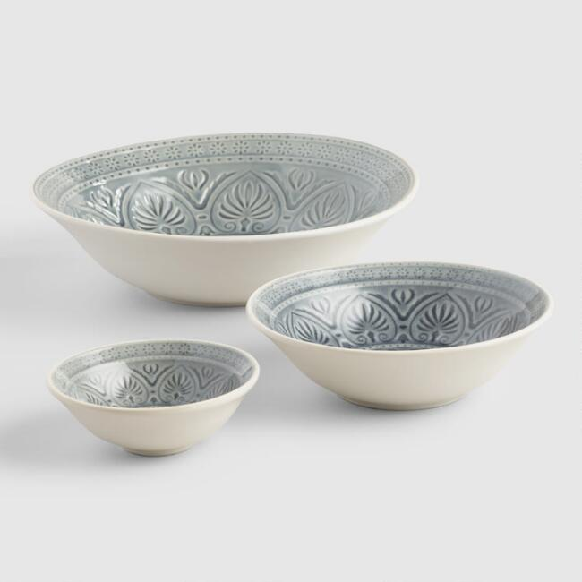 Gray Embossed Bowl Collection