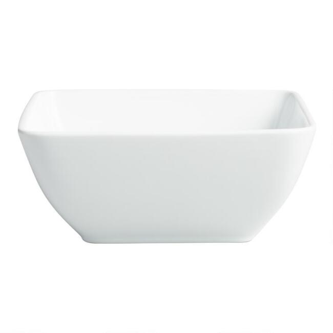 Square White Porcelain Coupe Serving Bowl