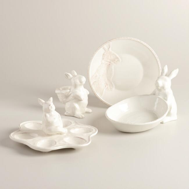 Ivory Distressed Bunny Serveware Collection