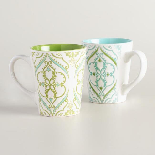 Aqua and green Pacifica Mugs Set of 2