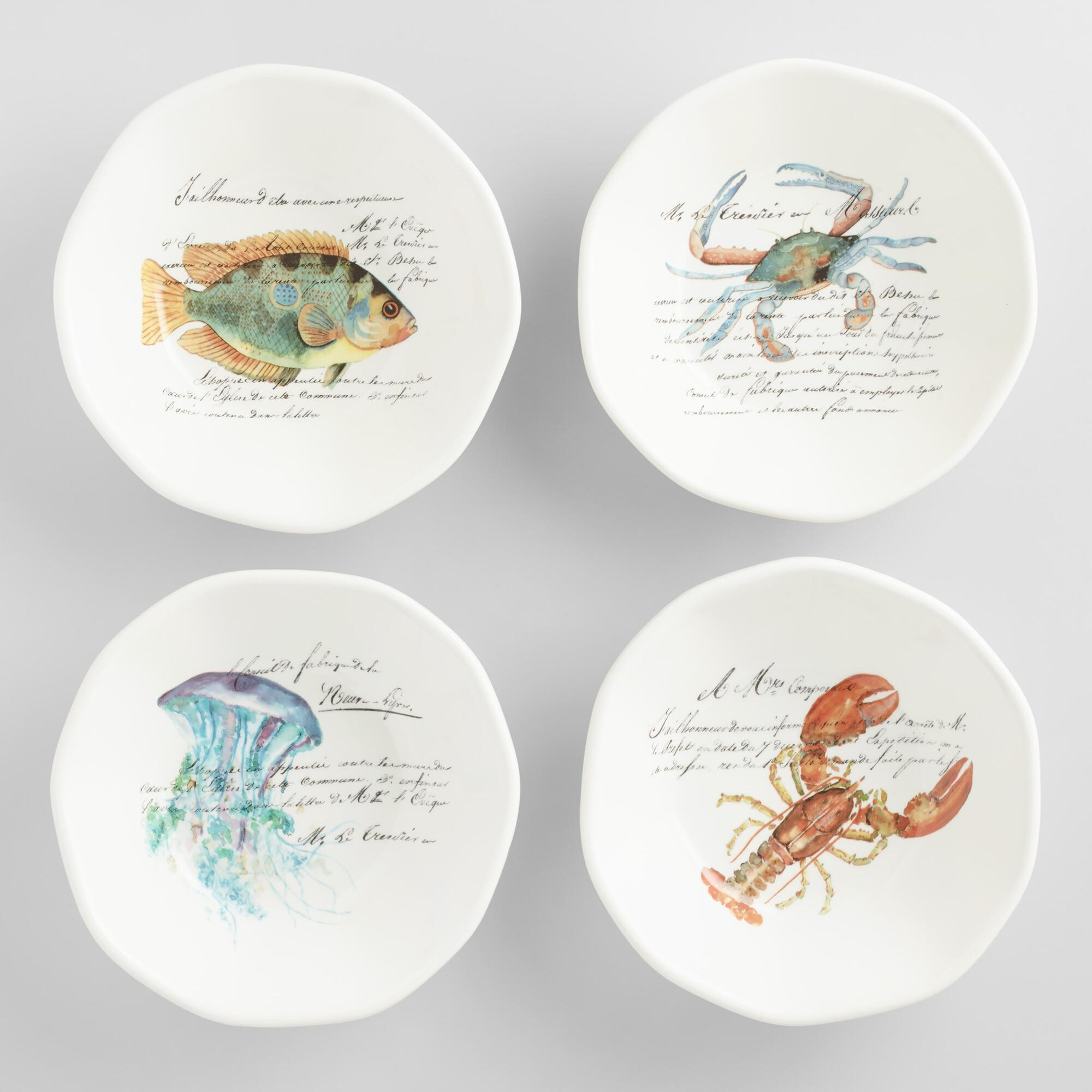 Italian Sealife Pasta Bowls Set of 4 by World Market